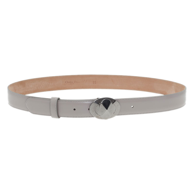 Dior Grey Leather Belt 85 CM