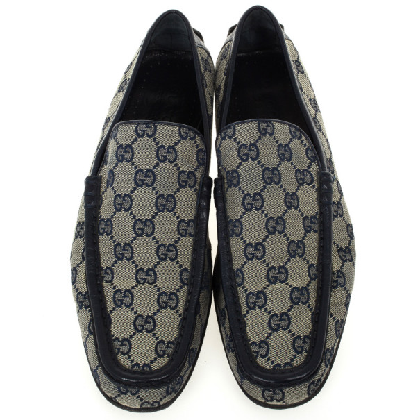 Gucci Navy Guccissima Loafers Size 41.5