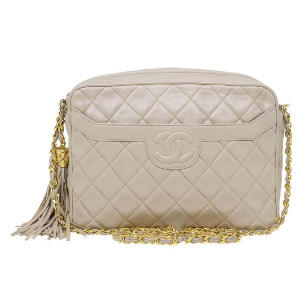 Chanel Beige Lambskin Vintage Tassel Shoulder Bag
