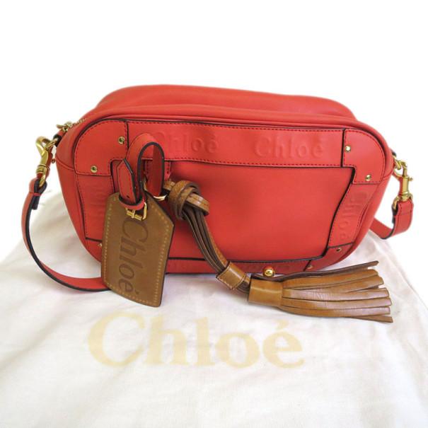 Chloe Coral Polyvinyl Eden Crossbody Bag