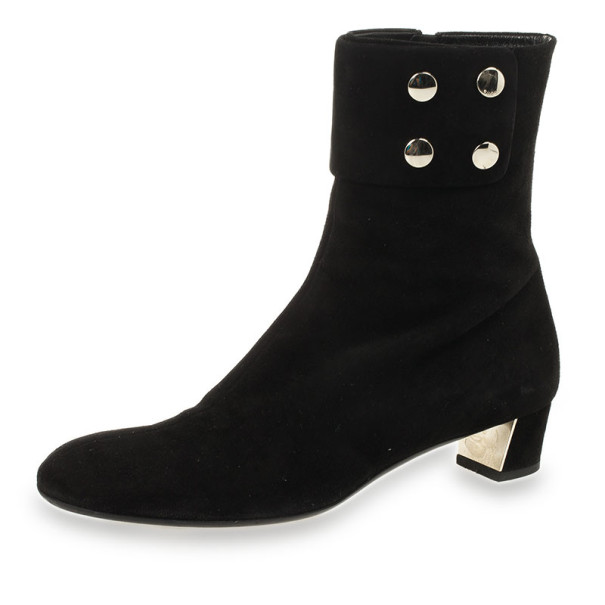 gucci black suede studded ankle boots size 38 buy sell