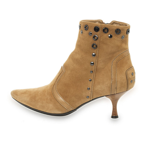 Tod's Beige Suede Studded Ankle Boots Size 37.5