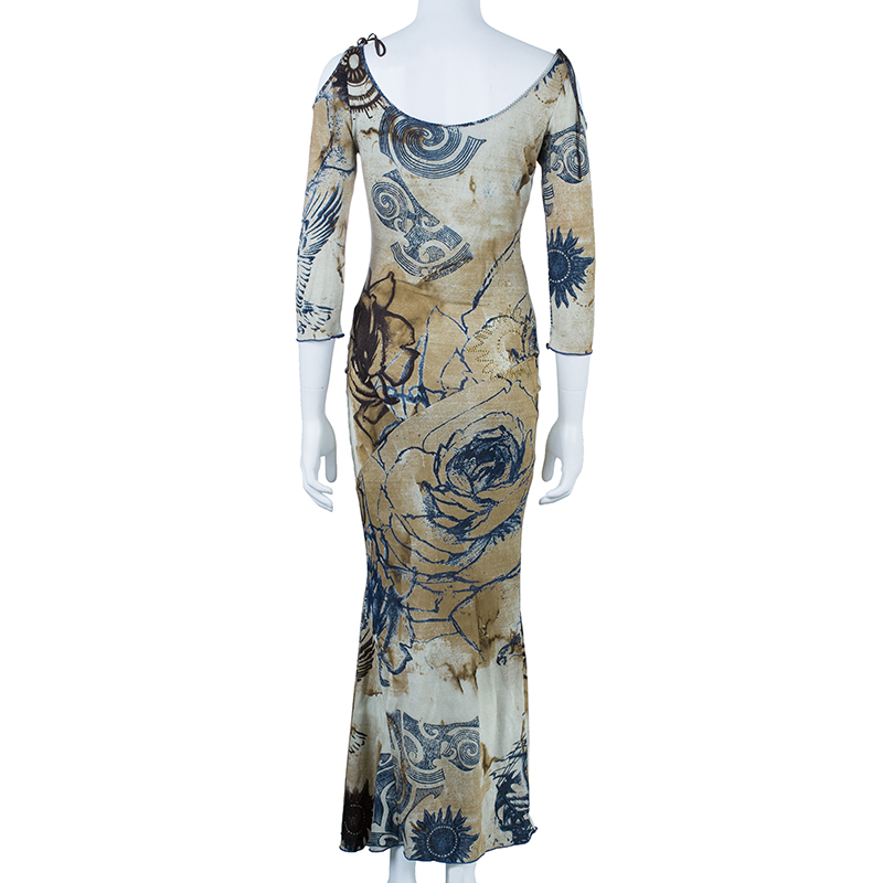 CLASS By Roberto Cavalli Off-Shoulder Printed Maxi Dress S