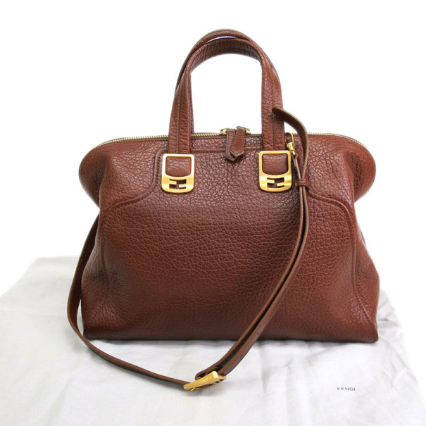 Fendi Brown Cameleon Leather Boston Bag