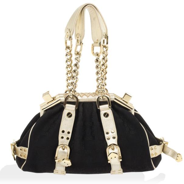 Versace Black Monogram Madonna Boston Bag