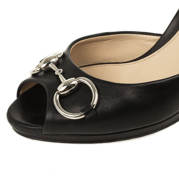 Gucci Black Leather Horsebit Slides Size 37.5