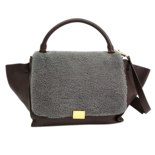 Celine Brown and Grey Sheepskin Trapeze