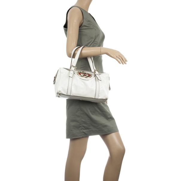 Gucci White Dialux 'Britt' Small Boston Bag