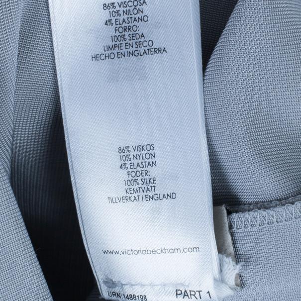 Victoria Beckham Dove Grey V-Neck Cap Sleeve Fitted Dress S