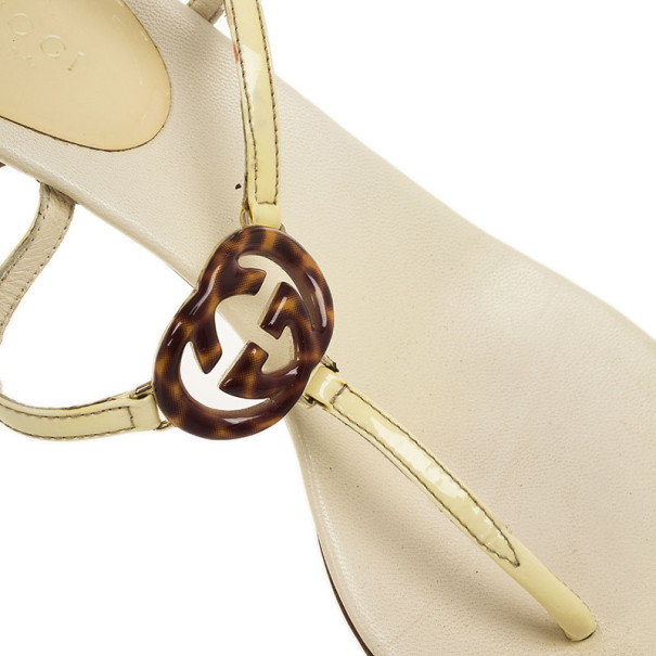 Gucci Cream Patent Brit Low Heel Thong Sandals Size 37.5