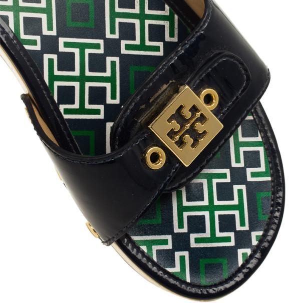 Tory Burch Blue Patent Leather Dixon Clogs Slides Size 38
