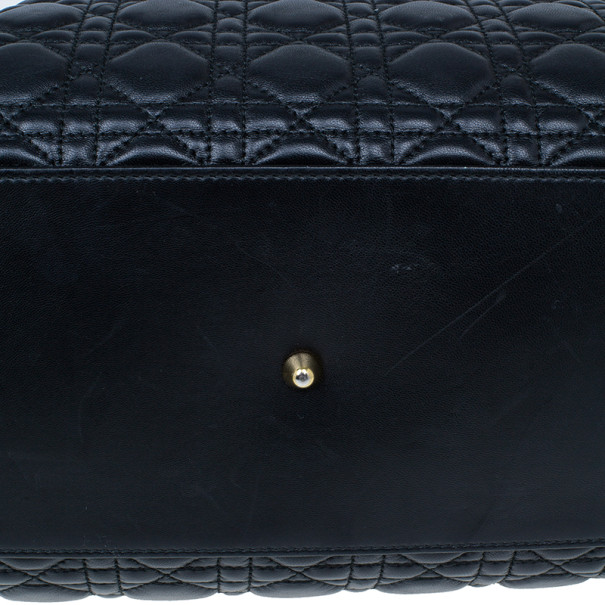 Dior Black Cannage Lambskin Leather Soft Lady Dior Shopping Tote