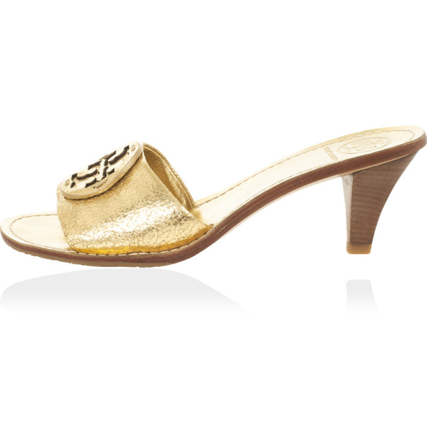 Tory Burch Gold 'Aerin' Slide Sandals Size 38.5