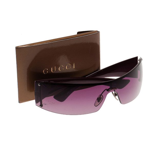 Gucci Shield Sunglasses  gucci purple gg 1824 rectangle shield women sunglasses