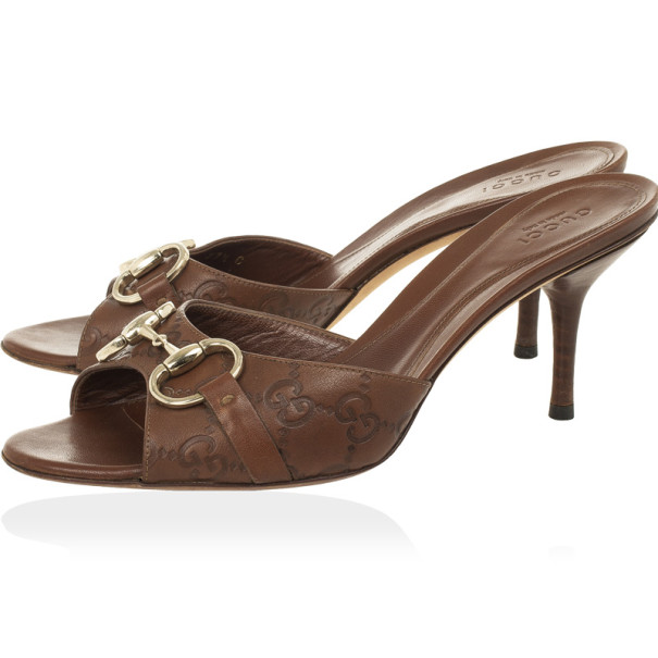 Gucci Brown Guccissima Horsebit Slides Size 37.5