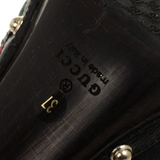Gucci Black Monogram 'Icon Bit' High Heel Clogs Size 37