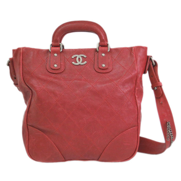 Chanel Red Caviar Top Handle Tote
