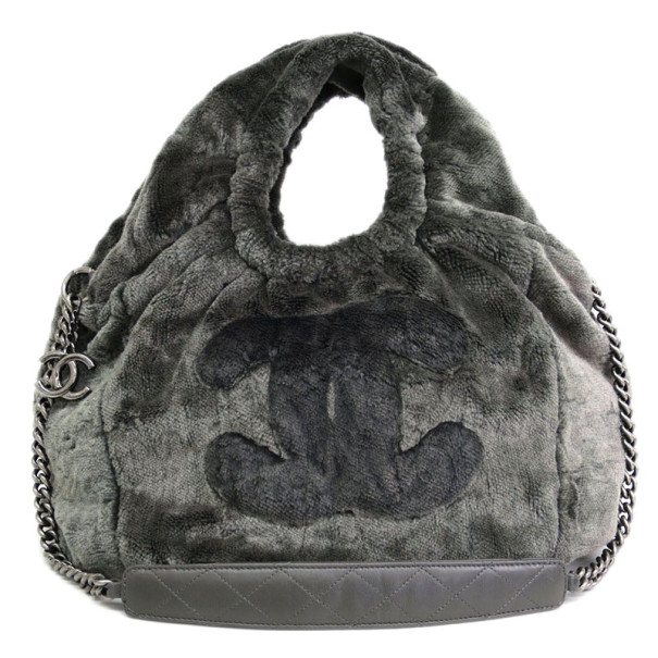 Chanel Grey Pile Fabric CC Hobo