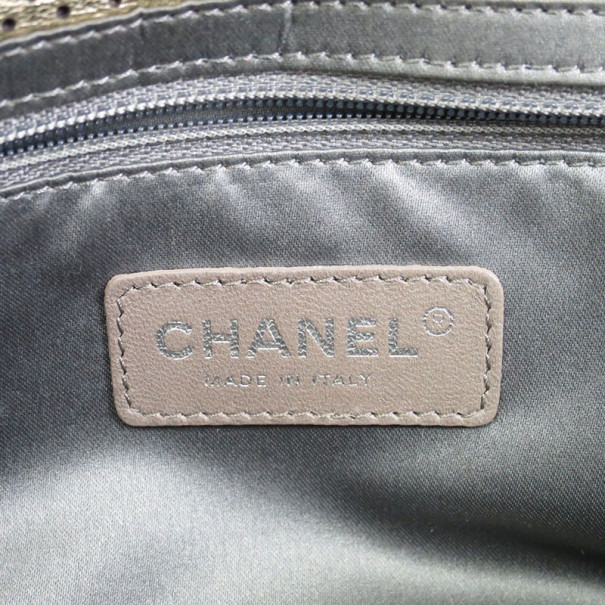 Chanel Silver Punching Peforated Leather Double Flap Bag