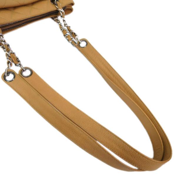 Chanel Caviar Beige Front Pocket Shoulder Bag
