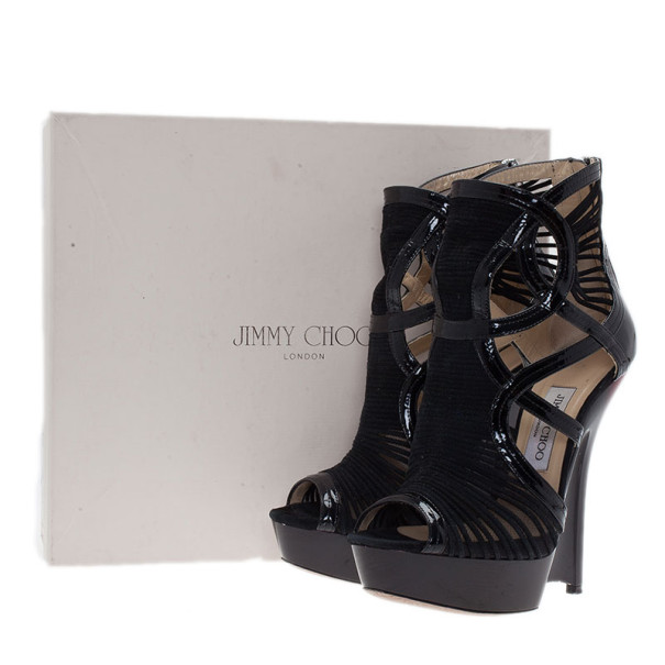 Jimmy Choo Black Patent Emily Wedge Platform Booties Size 38.5