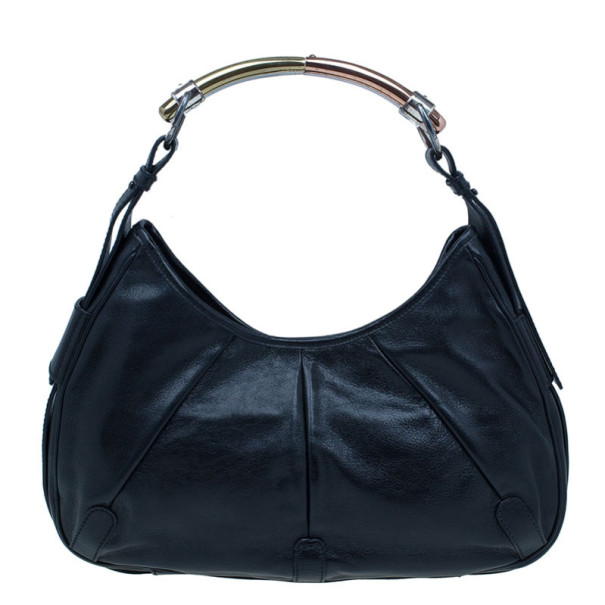 Saint Laurent Paris Black Leather Small Hobo