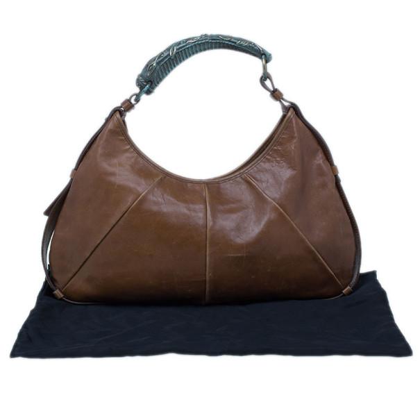 Saint Laurent Paris Brown Leather Small Mombasa Hobo