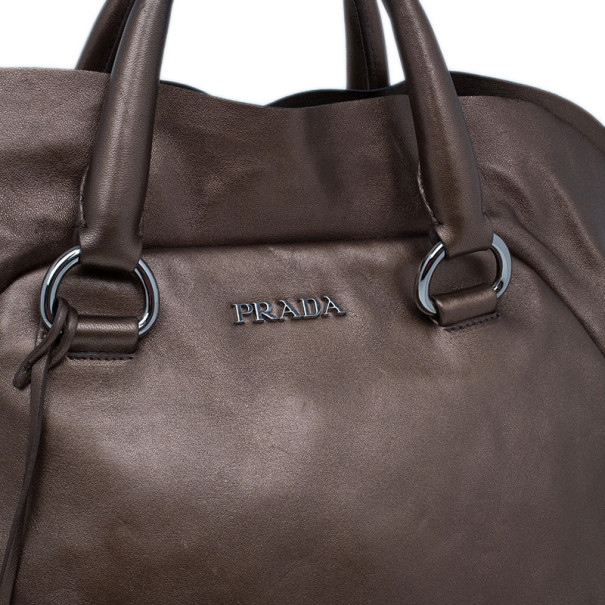 Prada Bronze Metallic Nappa Ruffle Bag