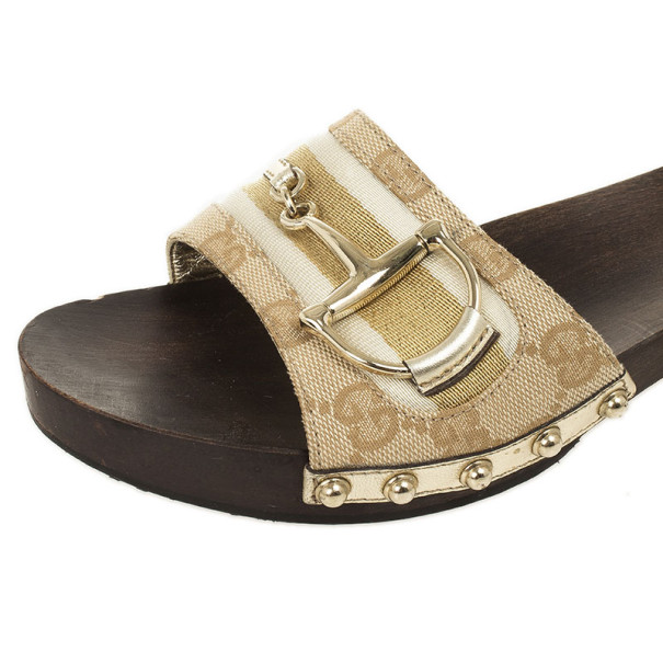 Gucci GG Canvas Icon Bit Wooden Clogs Size 38