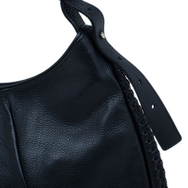 Saint Laurent Paris Black Leather Small Mombasa Hobo