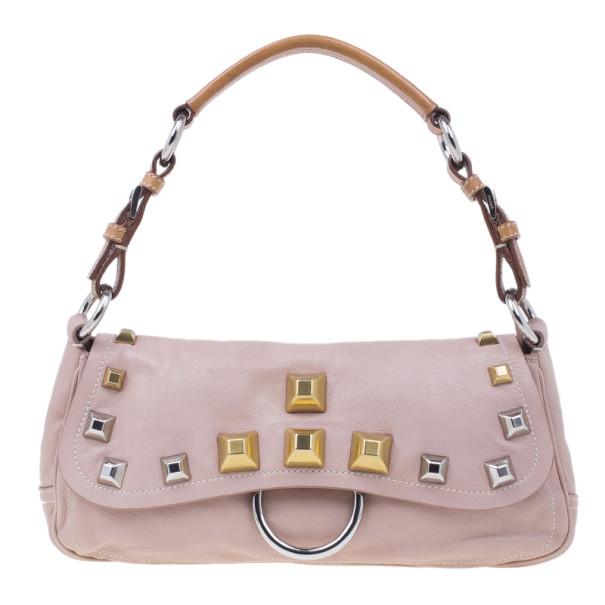 Prada Pink Leather Studded Shoulder Bag
