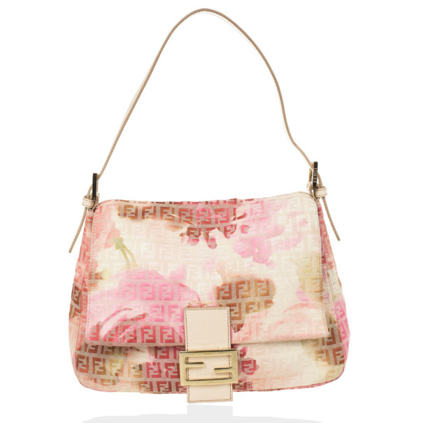 Fendi Pink and White Floral Zucchino Forever Mamma Flap Bag