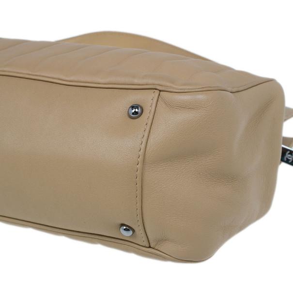 Chanel Beige Leather East-West Shoulder Bag
