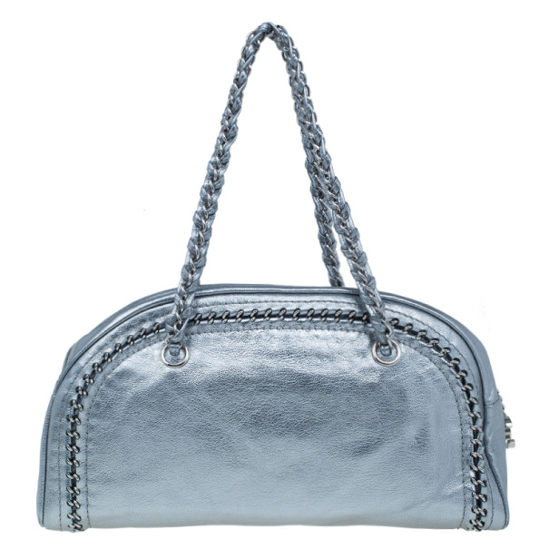 Chanel Metallic Silver Leather Chain Trim Luxe Ligne Bowler Bag