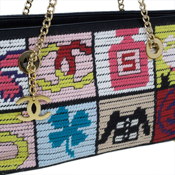 """Chanel Multicolor Crochet Tweed """"Lucky Charms"""" Patchwork Pochette"""