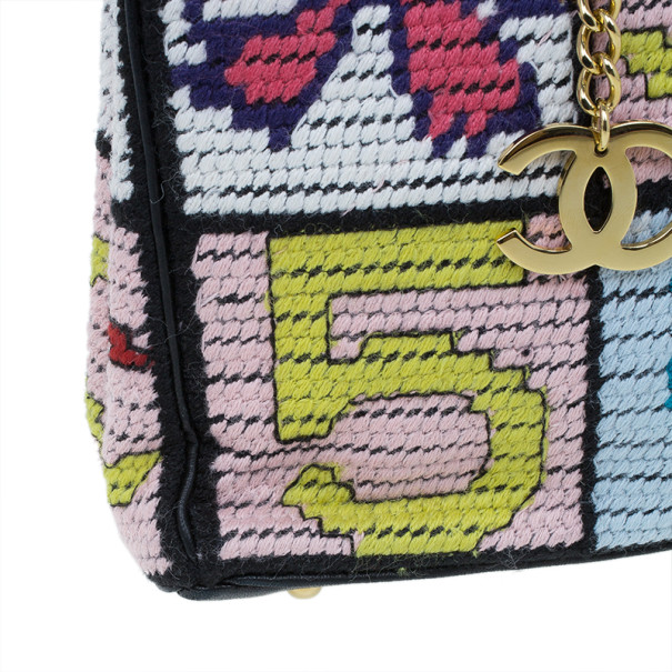 "Chanel Multicolor Crochet Tweed ""Lucky Charms"" Patchwork Pochette"