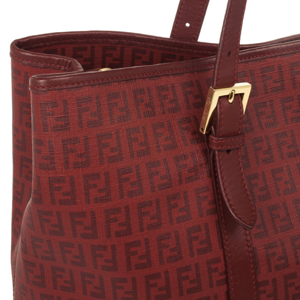 Fendi Red Zucchino Canvas Grande Shopping Bag