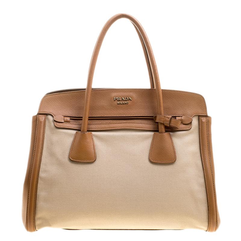 fd0e82acc6ea ... low price prada beige caramel corda canvas and saffiano lux leather tote  buy a7c43 2a576