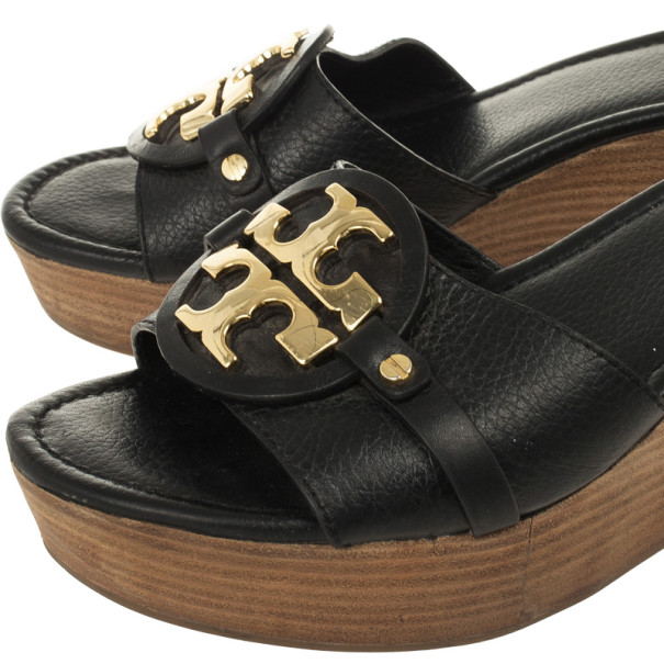 "Tory Burch Black Leather ""Patti 3"" Mid Wedge Slide Size 40.5"
