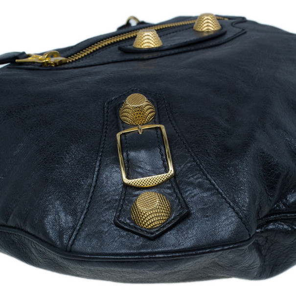 Balenciaga Black Leather Giant Hobo