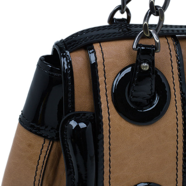 Fendi Brown Leather Patent Trim B Bag