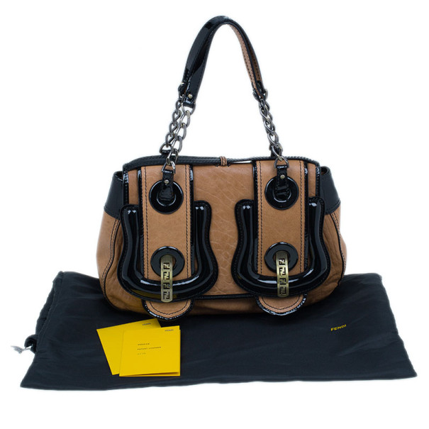 Fendi Brown Leather Patent Trim B Bag