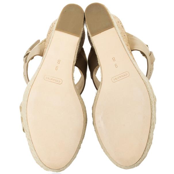 Coach Khaki Leather & Signature Canvas Mendez Cork Wedges Sandals Size 39.5