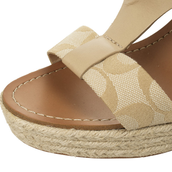 Coach Khaki Leather & Signature Canvas Mendez Cork Wedges Sandals Size 39.5