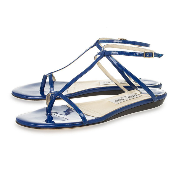 Jimmy Choo Blue Patent Leather Fiona T Strap Flat Sandals Size 39