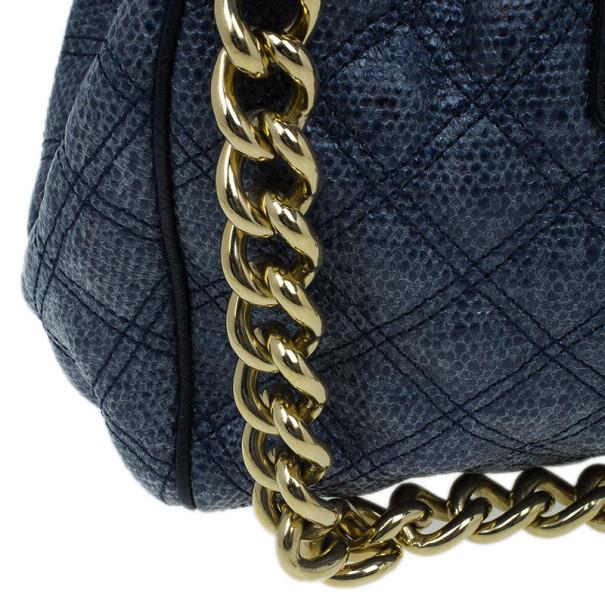 Marc Jacobs Blue Python Embossed Stam Satchel