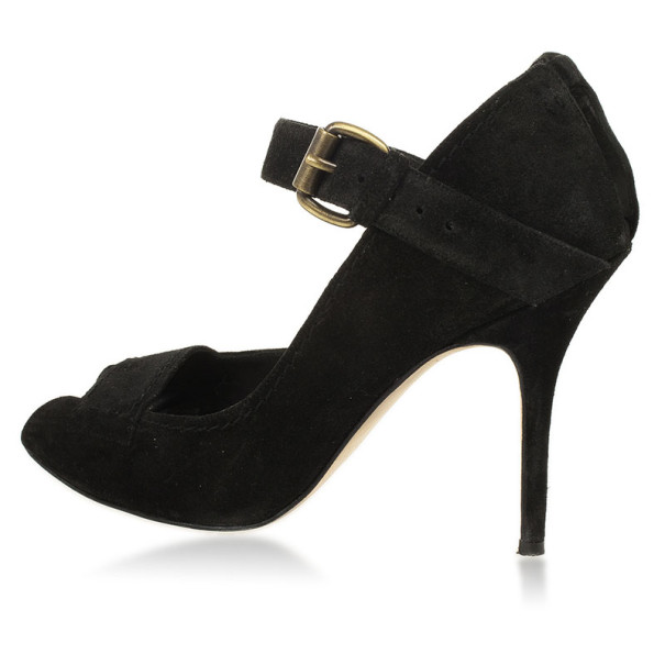 Manolo Blahnik Black Suede 'Reata' Peep-Toe Mary-Jane Pumps Size 39