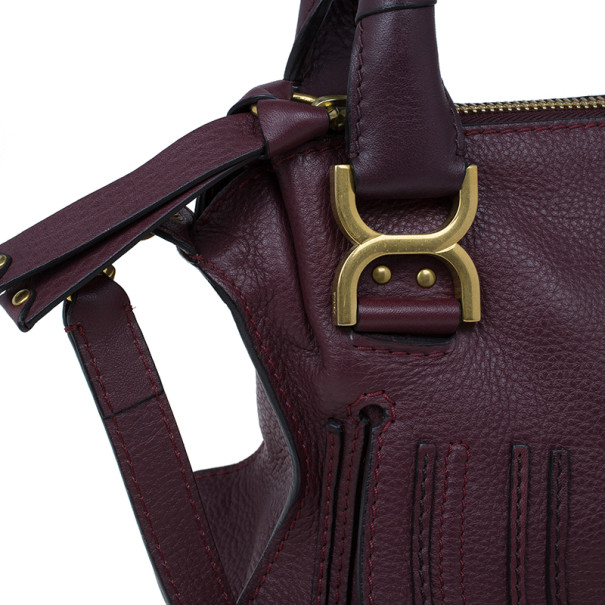 Chloe Purple Leather Small Marcie Satchel