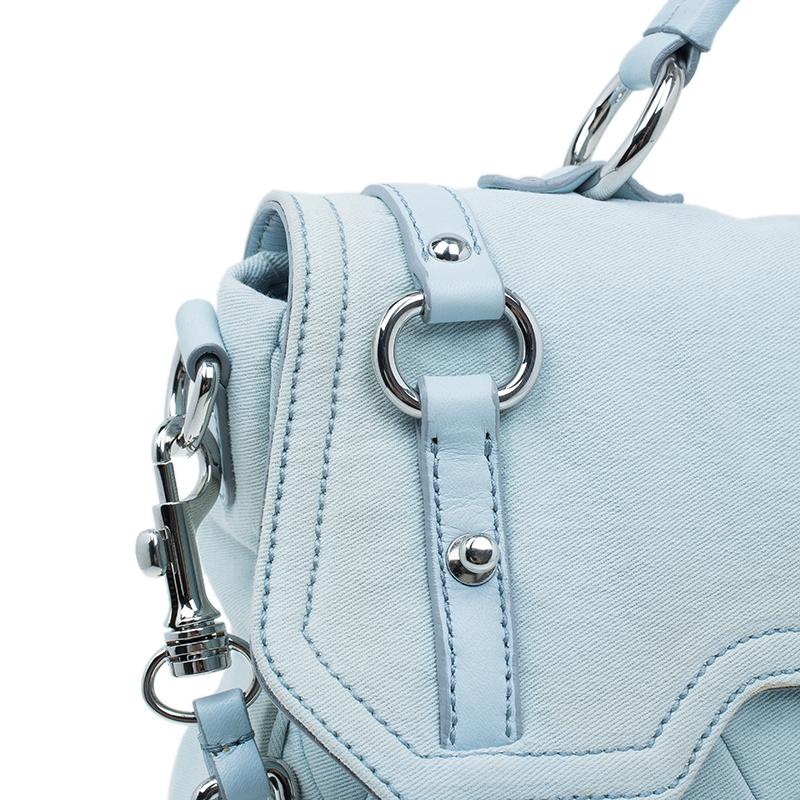 Miu Miu Light Blue Fabric Quilted Turnlock Shoulder Bag