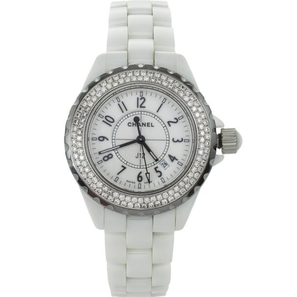 Chanel J 12 White Ceramic Diamonds Womens Wristwatch 33 MM